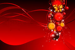 Illustration of red background with jingle balls Royalty Free Stock Images