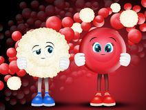 Red blood cells and white. Illustration of red blood cells and white stock illustration