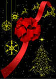 Illustration of a red bow and a Christmas tree vector illustration