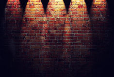Illustration Of Red Brick Wall With Spotlights Stock Photo