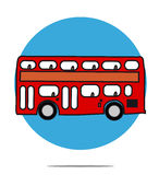 Illustration of a red bus with circle background Stock Photography