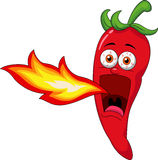 Chili  Cartoon Character Breathing Fire Stock Images