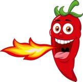 Chili Cartoon Character Breathing Fire stock illustration