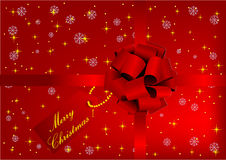 Illustration of a Red Christmas background. With bow Stock Images