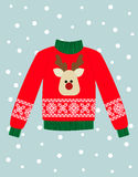 Illustration of a red Christmas sweater with deer. Stock Photo