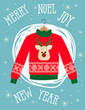Illustration of a red Christmas sweater with deer.Funny holiday background. Bright Christmas card. Royalty Free Stock Photo