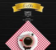 Red cup of coffee with yellow ribbon and coffee beans on dark wooden background. Illustration of Red cup of coffee with yellow ribbon and coffee beans on dark Stock Photos