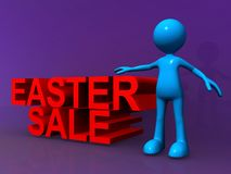 Easter sale sign. An illustration of a red Easter sale sign with a blue stick figure on a purple background Stock Photos