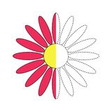 Illustration of red flower for toddlers. Vector drawing worksheet for preschool kids with easy gaming level of difficulty. Simple educational game for kids royalty free illustration