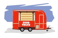 Illustration of food truck rastr. Illustration of red food truck isolated on white background royalty free illustration