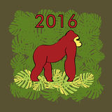 Illustration with red gorilla. royalty free illustration