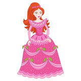Illustration of red-haired princess in elegant pink dress with spangles Stock Image