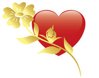 Illustration of red heart and flower - vector Stock Photo
