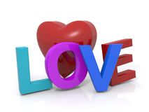 """Love and red heart. An illustration of a red heart with the text """"Love"""" on white background Stock Photos"""
