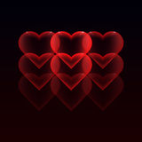 Illustration with red hearts on a dark background Royalty Free Stock Image