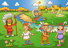 Illustration of red indian cartoon Stock Image