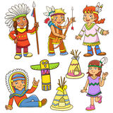 Illustration of red indian cartoon. Stock Photography