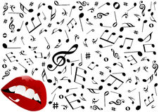 Illustration of red lips singing vector illustration