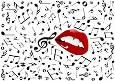 Illustration of red lips singing Stock Photography