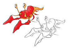 Illustration of Red Lobster. Cartoon Character  Coloring Book Royalty Free Stock Photography
