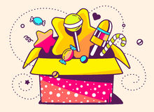 illustration of red open gift box and sweets on light bac Stock Images