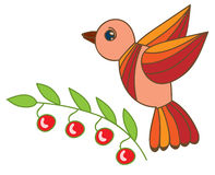 Illustration red and orange bird with leaf and berry isolated on Royalty Free Stock Photos