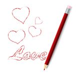 Illustration of a red pencil. On white Stock Image