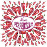 Illustration with red peppers drawn by hand with colored pencil and with logotype in center. Drawing with crayons. Fresh tasty vegetables painted from nature Royalty Free Stock Images