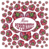 Illustration with red peppers drawn by hand with colored pencil and with logotype in center. Drawing with crayons. Fresh tasty vegetables painted from nature Royalty Free Stock Photos