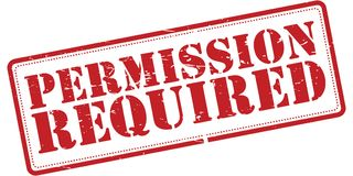 Permission required sign. An illustration of a red permission required sign on a white background Stock Photos