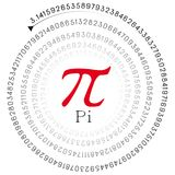 Red pi sign and the number in spiral form. Illustration of a red pi sign and the number in spiral form Royalty Free Stock Photo