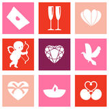 Illustration of red and pink paper card of Valentines day Stock Photos