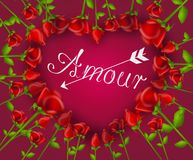 Illustration of heart set of red roses with text Amour. Illustration of red roses in heart shape decorated with text Amour and arrow Stock Images
