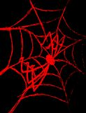 Red spider on a cobweb on a black background. Illustration of a red spider on a cobweb on a black background Royalty Free Stock Photos