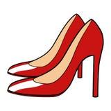Illustration Of Red Stiletto. Cartoon illustration of red stiletto Stock Photography