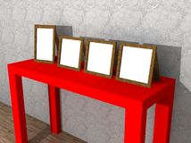A illustration of a red table with frames Stock Photography