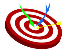 Illustration of a red target with arrows Stock Image