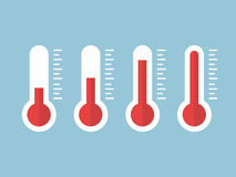 Illustration of red thermometers with different levels, flat style, EPS10. Royalty Free Stock Photo