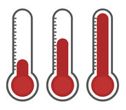 Illustration of red thermometers with different levels. Flat style, EPS10 Stock Images