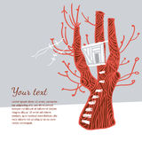 Illustration with a red tree and white tree house Stock Photography
