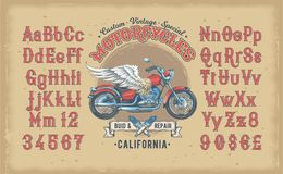 Illustration of a red vintage font, the Latin alphabet with retro custom motorcycle. Template, design element Royalty Free Stock Images