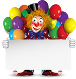 Redhead clown with a banner and balloons Royalty Free Stock Photos