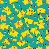 Redraw redesign Pokemon Pikachu ball rotate seamless pattern
