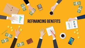 Illustration of Refinancing benefits discussion situation in a meeting with paperworks, money and coins on top of table Stock Photos