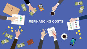 Illustration of Refinancing costs discussion situation in a meeting with paperworks, money and coins on top of table Stock Photo