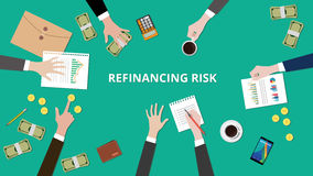 Illustration of Refinancing risk discussion situation in a meeting with paperworks, money and coins on top of table Stock Photo