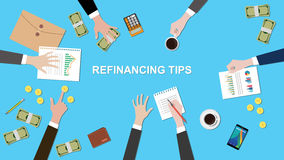 Illustration of Refinancing tips discussion situation in a meeting with paperworks, money and coins on top of table Stock Photos