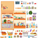 Illustration of Refrigerator with food,drinks and kitchenware Stock Images