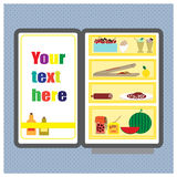 Illustration with refrigerator with food Royalty Free Stock Images