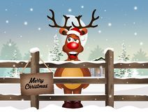 Reindeer at Christmas in winter landscape. Illustration of reindeer at Christmas in winter landscape Royalty Free Stock Images